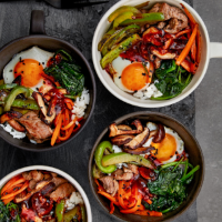 Korean chilli beef and rice bowls