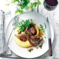 Lamb cutlets with polenta & herb dressing