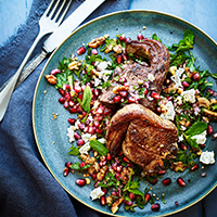 Lamb chops, pomegranate and feta