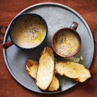 Leek & pancetta soup with cheese croûtes