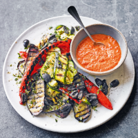 Mediterranean vegetables with red mojo sauce