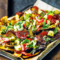 Spiced potato skin nachos with crispy chorizo & avocado