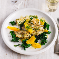 Pan-fried plaice with kale, orange and dill salad