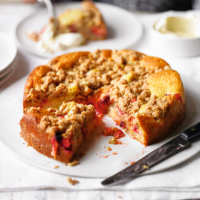 Plum and cinnamon crumble bake