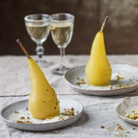 Poached pears with orange blossom