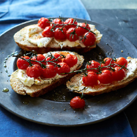 Parsnip soda bread with ricotta & roasted tomatoes