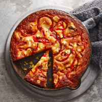 Roasted red pepper and goats' cheese cornbread