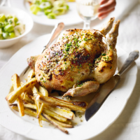 Roast chicken with creamed leeks & Parmesan parsnips