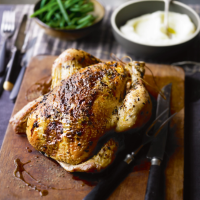 Roast tarragon and mustard glazed chicken with pomme purée