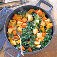 Roasted roots, chickpea & cavolo nero bake