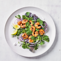 Red curry prawns & coconut-lime salad