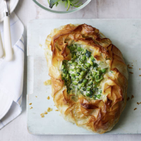 Spinach, pea and ricotta tart