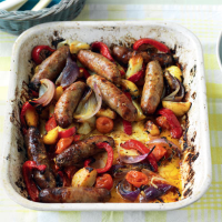 Sausage, potato and red pepper bake