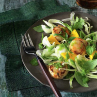 Scallop, fennel and mango salad with chilli dressing
