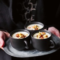 Stilton and celeriac soup with pancetta and apple croutons