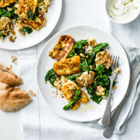 Sautéed cauliflower and spinach with halloumi