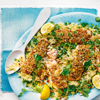 Salmon fillets with almond crab crust & orzo pea salad