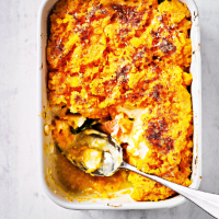 Spinach fish pie with mustard root mash