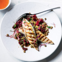 Seared lemon mackerel with herby lentils