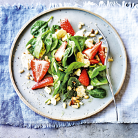 Toasted feta, strawberry & basil salad