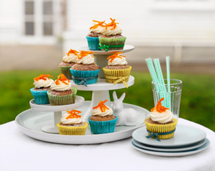 Candied carrot & cream cheese cupcakes