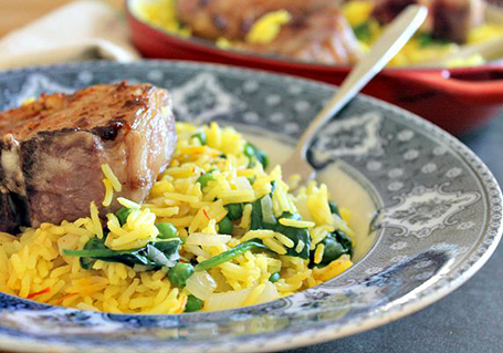Spiced Lamb With Saffron Spinach Rice