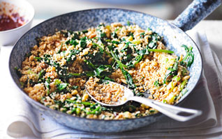Spinach and pine nut couscous