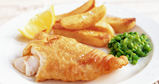 Beer Battered Fish, Chips and Mushy Peas