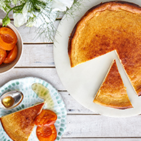 Honey & ricotta flan with apricot compote