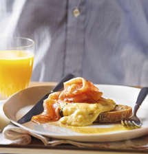 Heston's smoked salmon and scrambled eggs