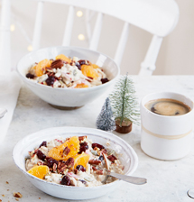 Clementine, cranberry and pecan bircher muesli