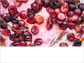Roasted cherries with maple syrup and rosemary