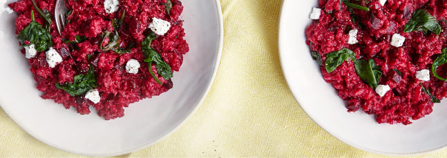 Beetroot risotto with horseradish and chard