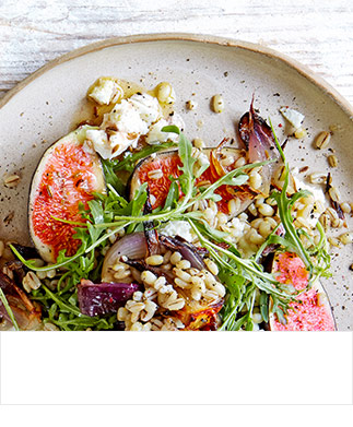 Fig, roast red onion, feta and barley salad