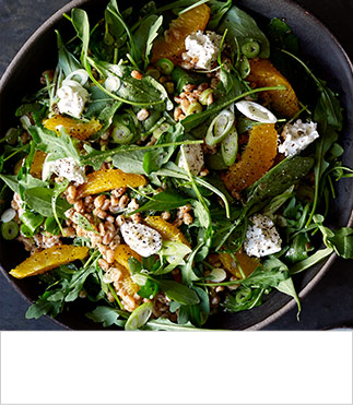 Orange, rocket, spelt and caper salad with goats' cheese