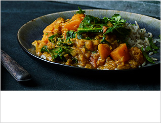 Red sweet potato dahl