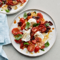 Buffalo mozzarella with roasted tomatoes & olives
