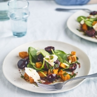 Cherry,-sweet-potato-and-wensleydale-salad