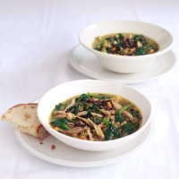 Chicken and beluga lentil soup