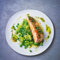 Citrus salmon with peas & spinach