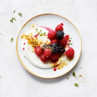 essential Waitrose berry compote with whipped ricotta