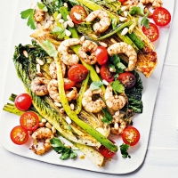Harissa prawns with cos lettuce & onions