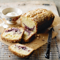 Marbled blackcurrant and almond cake