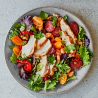 Marinated chicken, cannellini, chorizo and pepper salad