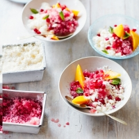 Pomegranate and yogurt granitas with mango and mint