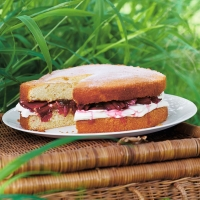 Rhubarb and ginger Victoria sandwich