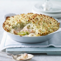 Salmon and leek pie