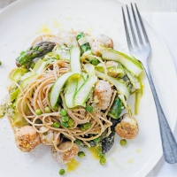 Spring polpette with asparagus  & lemon pasta