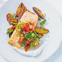 Trout with crispy potatoes & minted tomatoes