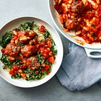 Veal meatballs in cannellini and tomato sauce with couscous